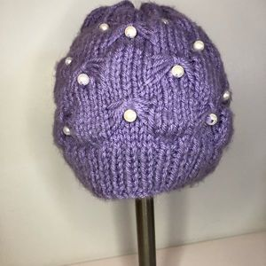 Purple hat very cute with pearls